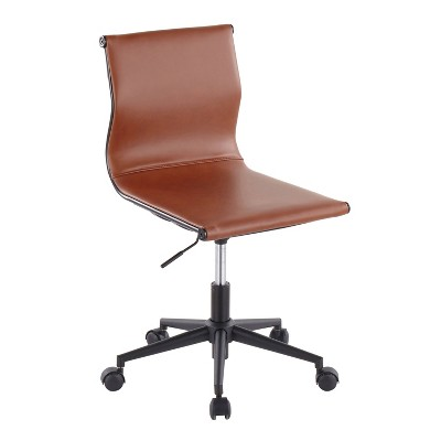 Mirage Contemporary Task Chair Steel/Faux Leather Black/Camel - LumiSource