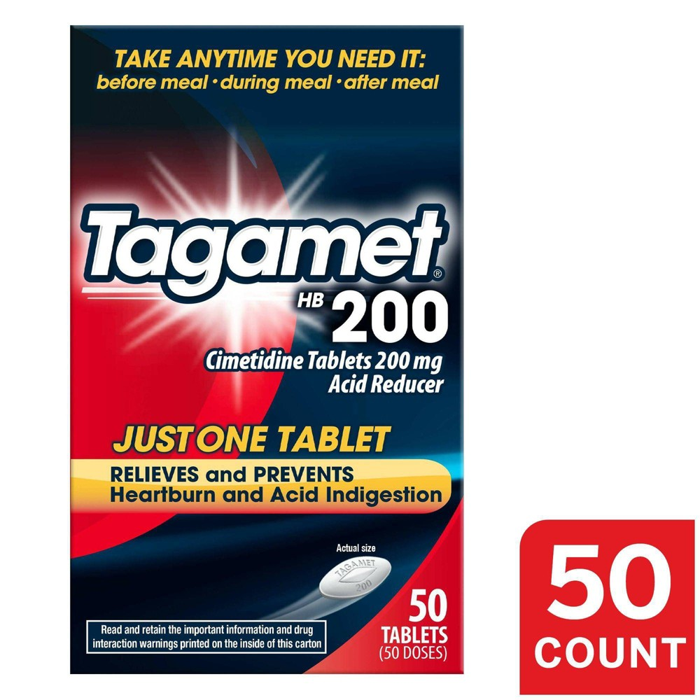 Tagamet HB 200 Acid Reducer Heartburn Relief Tablets – 50ct Manage your heartburn with Tagamet HB 200. Tagamet is the first Rx heartburn prevention product and has been trusted for over 40 years*. It is FDA approved as a safe alternative to Ranitidine and is the only Cimetidine over-the-counter (OTC) brand with 200 mg acid reducer. Tagamet helps relieve and prevent heartburn associated with acid indigestion and sour stomach. To prevent heartburn symptoms, take Tagamet HB 200 before your first bite or any time up to 30 minutes before eating food or drinking beverages that may cause heartburn. Tagamet HB 200 helps treat heartburn and acid indigestion caused by eating or drinking certain foods and beverages, such as hot and spicy foods. To relieve heartburn symptoms associated with acid indigestion and sour stomach, take Tagamet at the first signs of discomfort, whether during or after a meal. *Based on Tagamet consumer purchase since 1977. Gender: unisex. Age Group: adult.