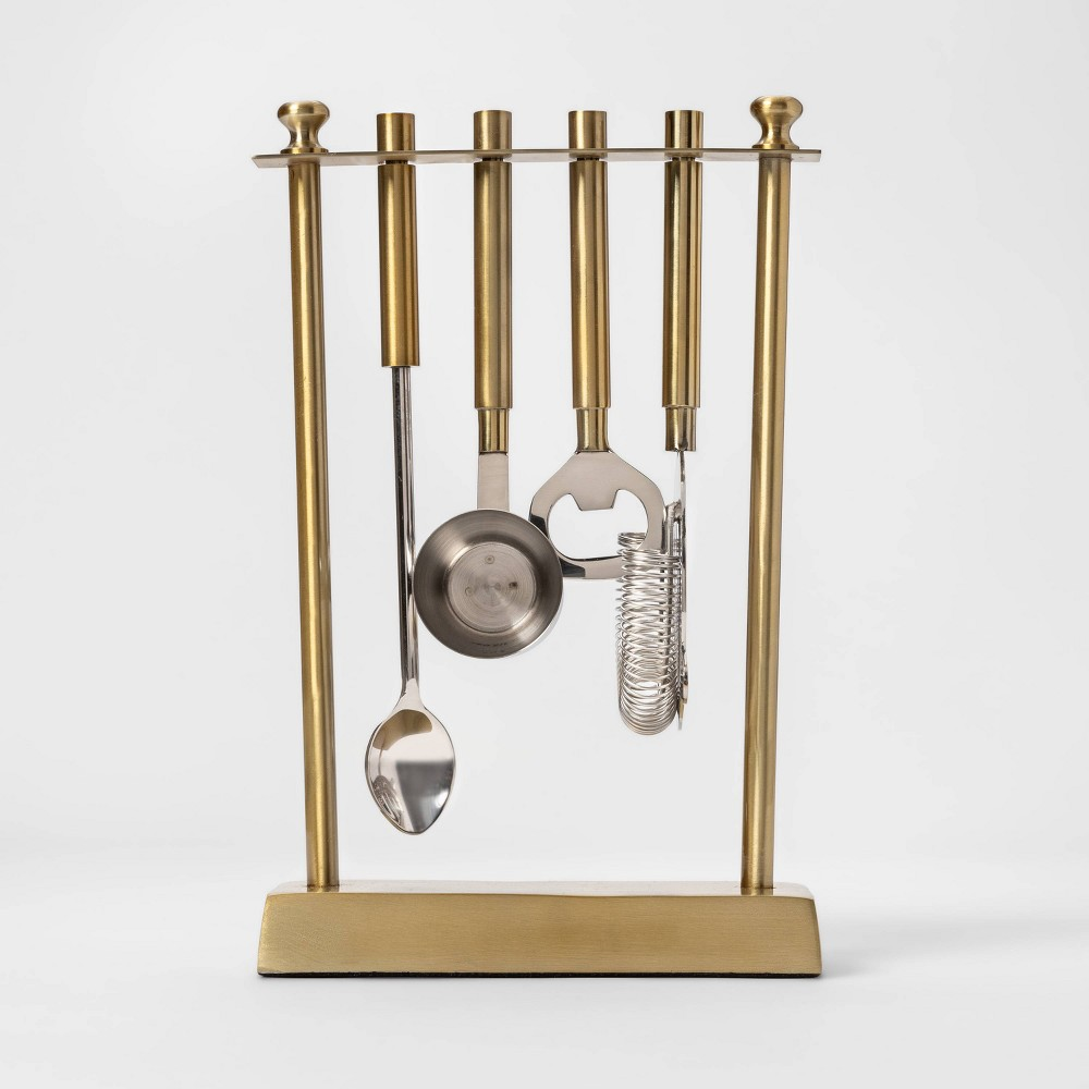 Image of 5pc Bar Tool Set With Stand Gold - Project 62