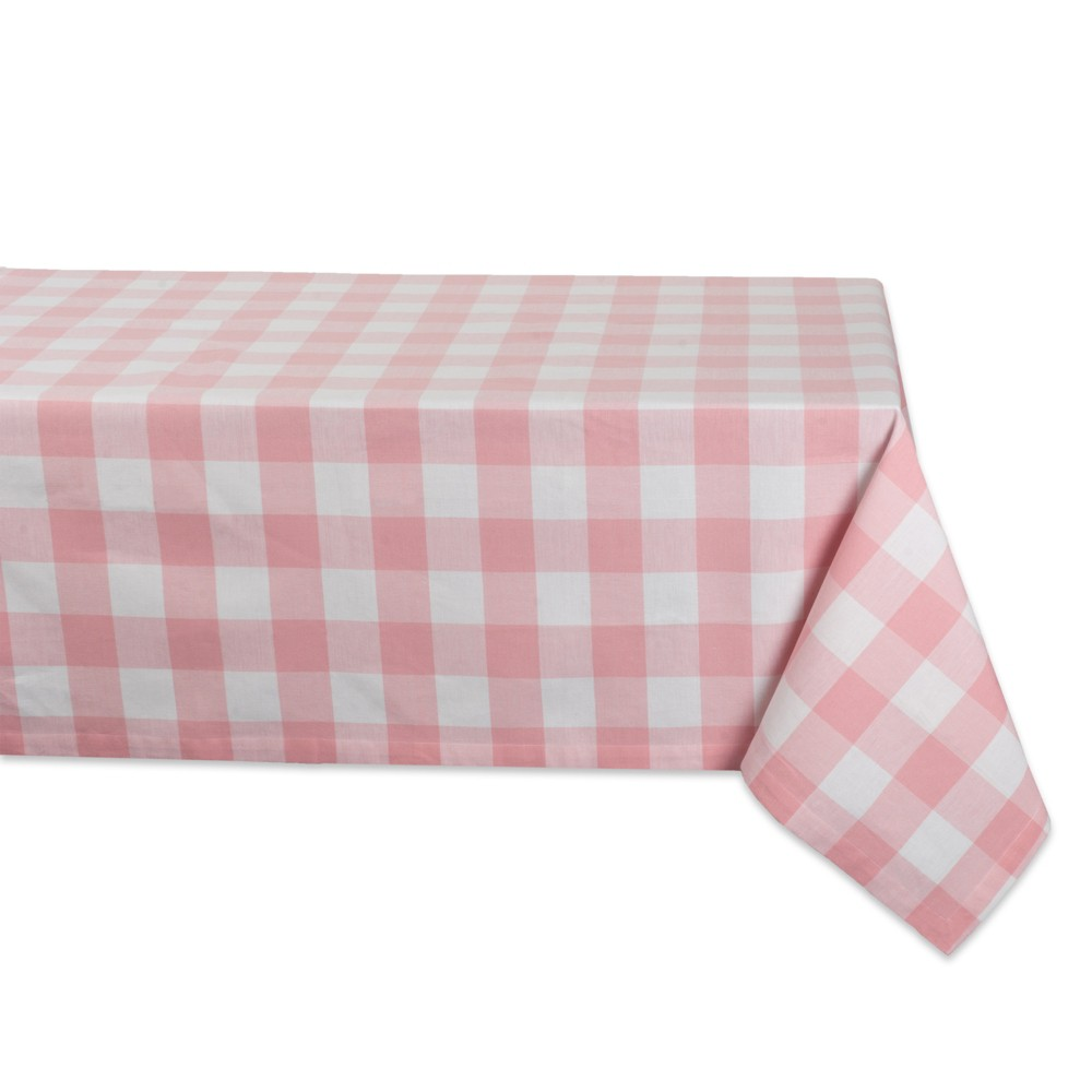 "Image of ""52""""x52"""" Buffalo Check Tablecloth Pink - Design Imports"""