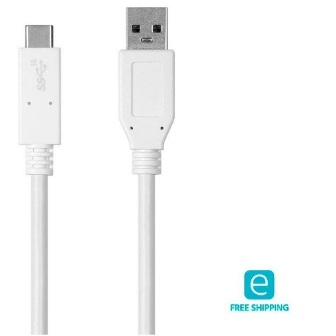 Monoprice Essentials 3.1 USB-C to USB-A Gen 2, 3A, 10 Gbps, 1m (3.3ft), use with Samsung Galaxy S9 S8 Note 8, Pixel, LG V30 G6 G5, Nintendo Switch, an - image 1 of 4