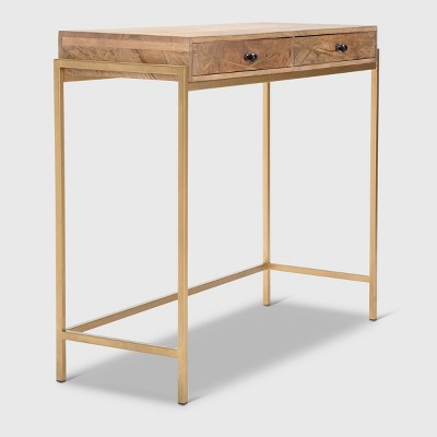 Sidney Modern Living Room Console Table Beige/Gold - Adore Decor