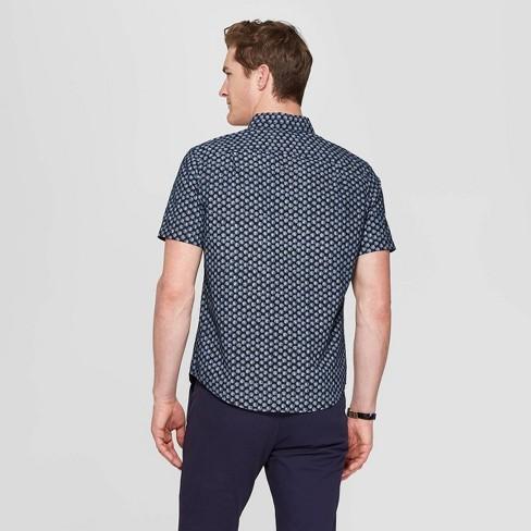 01cdce34 Men's Printed Standard Fit Short Sleeve Poplin Button-Down Shirt -  Goodfellow & Co™
