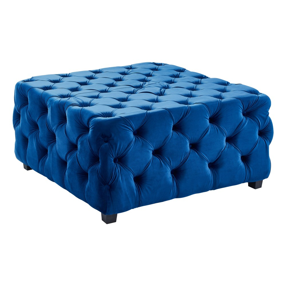 Armen Living Taurus Contemporary Ottoman Velvet Blue