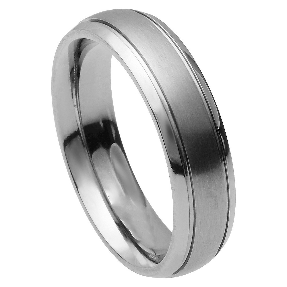 Men's Daxx Titanium Ridged Brushed Center Band - Silver (12) (6mm)