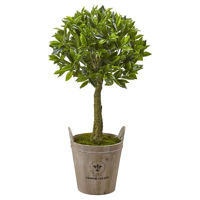 38  Sweet Bay Topiary with European Barrel Planter - Nearly Natural