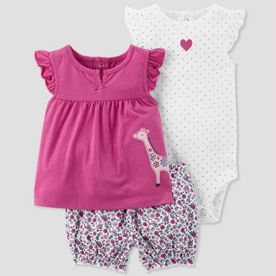 Baby Girls' 3pc Giraffe Set - Just One You® made by carter's Purple 3M