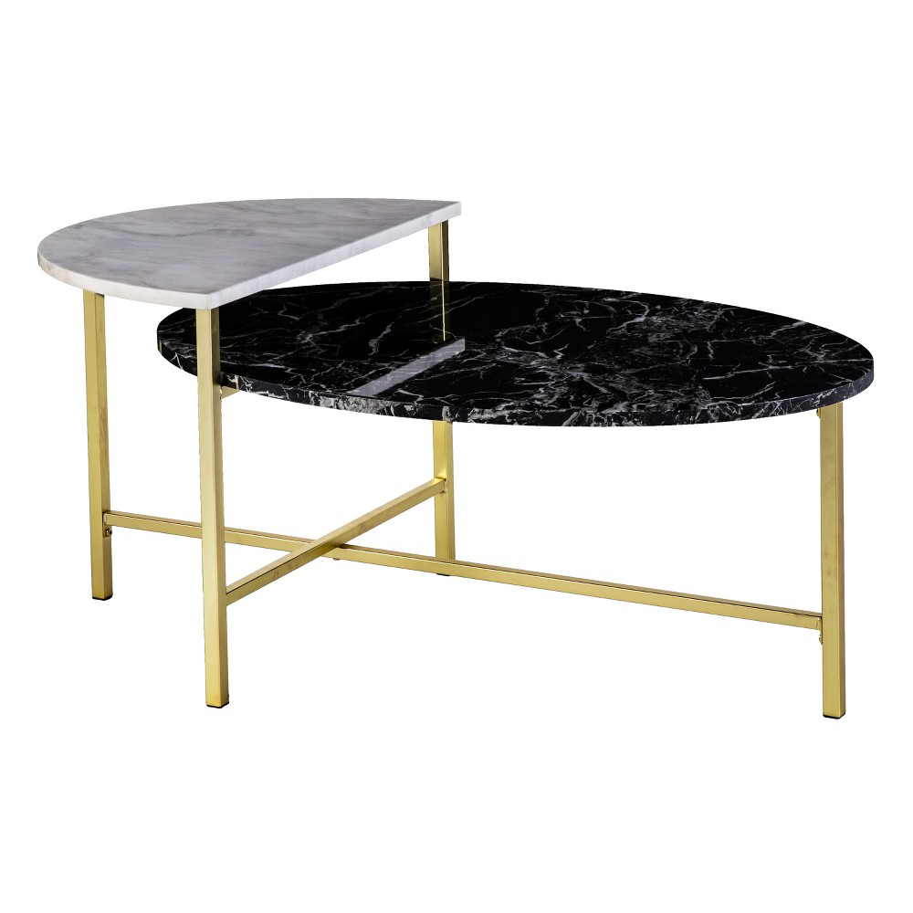 Holly & Martin Bickly 2 Level Cocktail Table Brushed Gold With Black and White Faux Marble