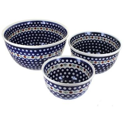 Blue Rose Polish Pottery Nature Mixing Bowl Set