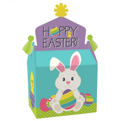Big Dot of Happiness Hippity Hoppity - Treat Box Party Favors - Easter Bunny Party Goodie Gable Boxes - Set of 12