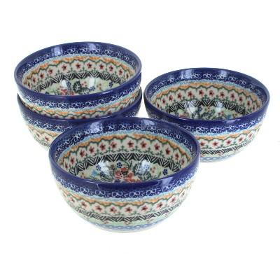 Blue Rose Polish Pottery Ashley 4 PC Dessert Bowl Set