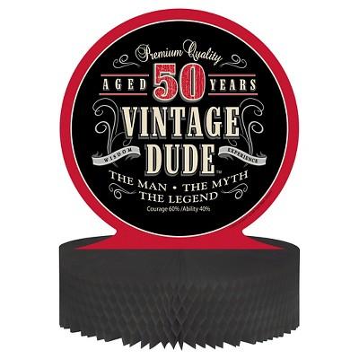 Vintage Dude 50th Birthday Centerpiece