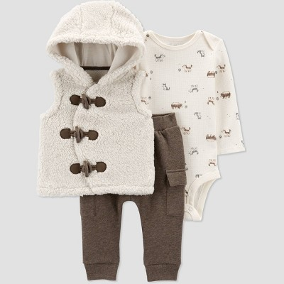 Baby Boys' 3pc Sherpa Top & Bottom Set - Just One You® made by carter's Brown Newborn