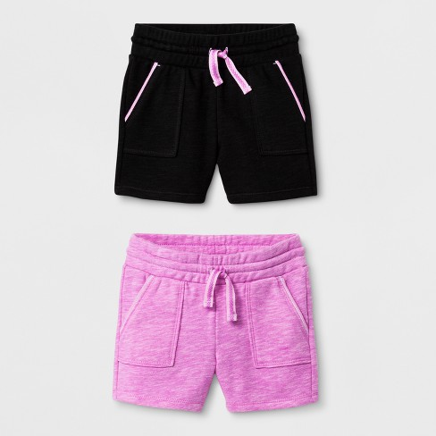 Toddler Girls' Knit Cargo Shorts - Cat & Jack™ Black/Lavender - image 1 of 2