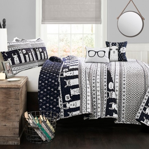 4pc Twin Llama Quilt Set With Throw Pillow Navy Lush Dcor