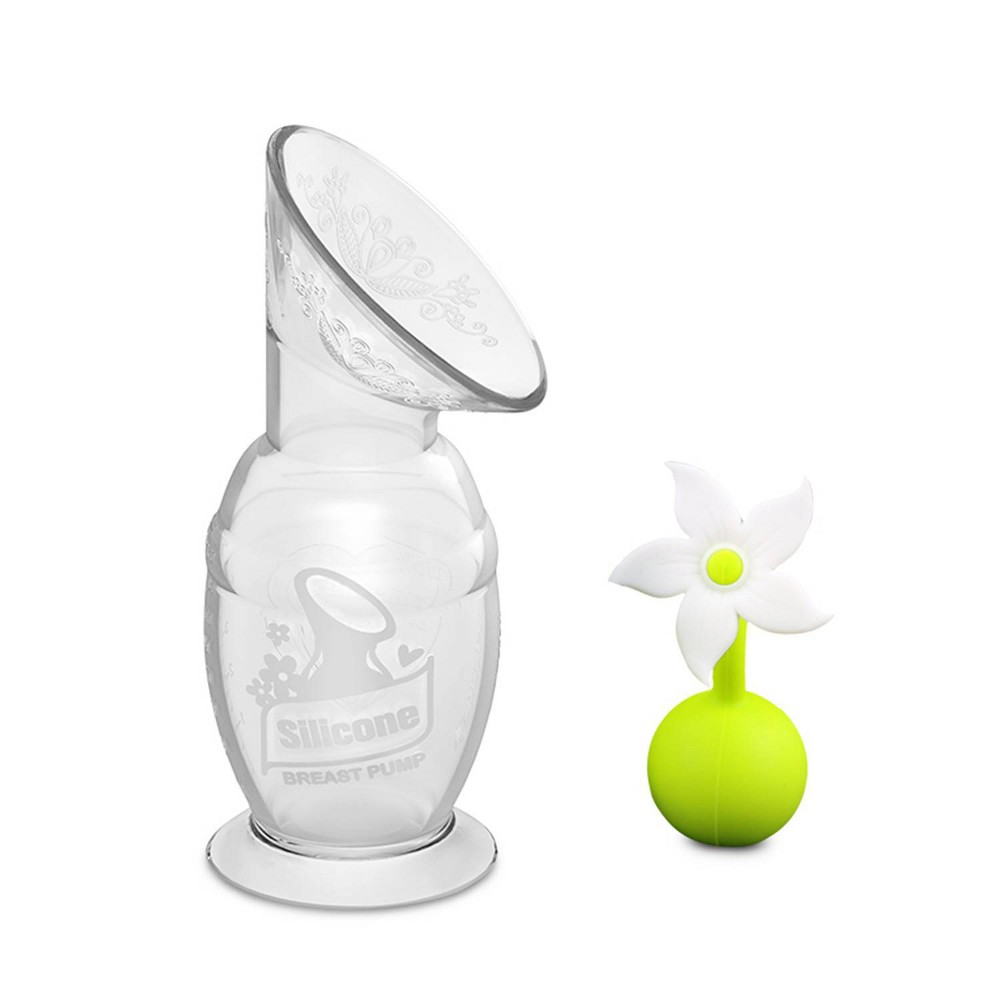 Image of haakaa 5oz breast pump with suction base and white flower stopper