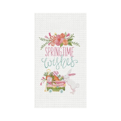 C&F Home Spring Time Wishes Floral Embroidered Waffle Weave Kitchen Towel