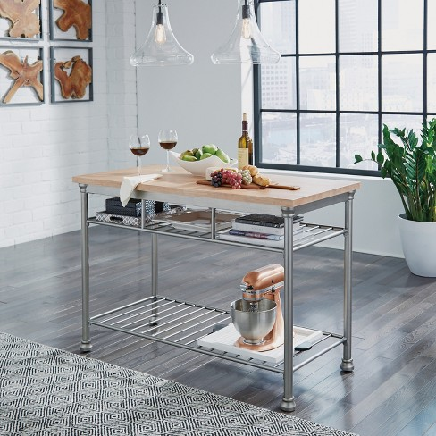 Home Styles Butcher Block Top Kitchen Island : French Quarter Butcher Block Top Kitchen Island Aged White Washed - Home Styles : Target