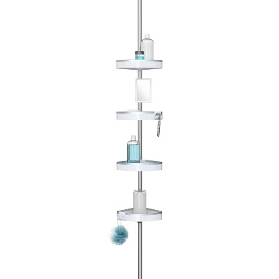 HiRise Four Corner Standing Shower Caddy with 9' Tension Pole Rust Proof Aluminum Shower Organizer - Better Living Products