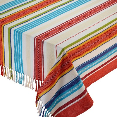 Design Imports 84 X60  Stripe Fringed Tablecloth