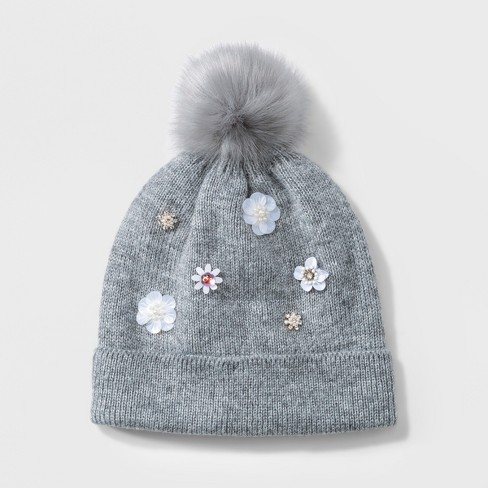 02bc296c120 Women s Embellished Pom Beanie - A New Day™ Gray   Target
