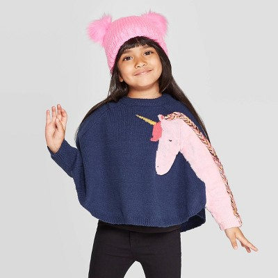 Toddler Girls' Long Sleeve 'unicorn' Pullover Sweater   Cat & Jack™ Navy by Cat & Jack