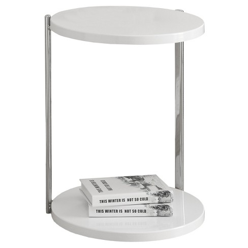 Accent Table - Chrome Metal, Glossy White - EveryRoom - image 1 of 2