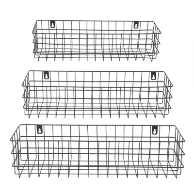 Farmlyn Creek 3 Pack Wall Mounted Wire Storage Baskets, Black (3 Sizes)