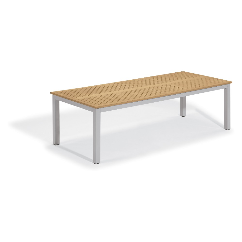 103 Travira Rectangular Dining Table with Powder-Coated Aluminum Frame and Tekwood Natural Top - Oxford Garden