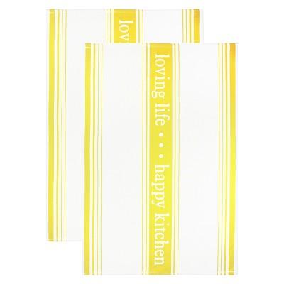 Jacquard Towel Loving Lifehappy Kitchen Lemon Drop - Mu Kitchen
