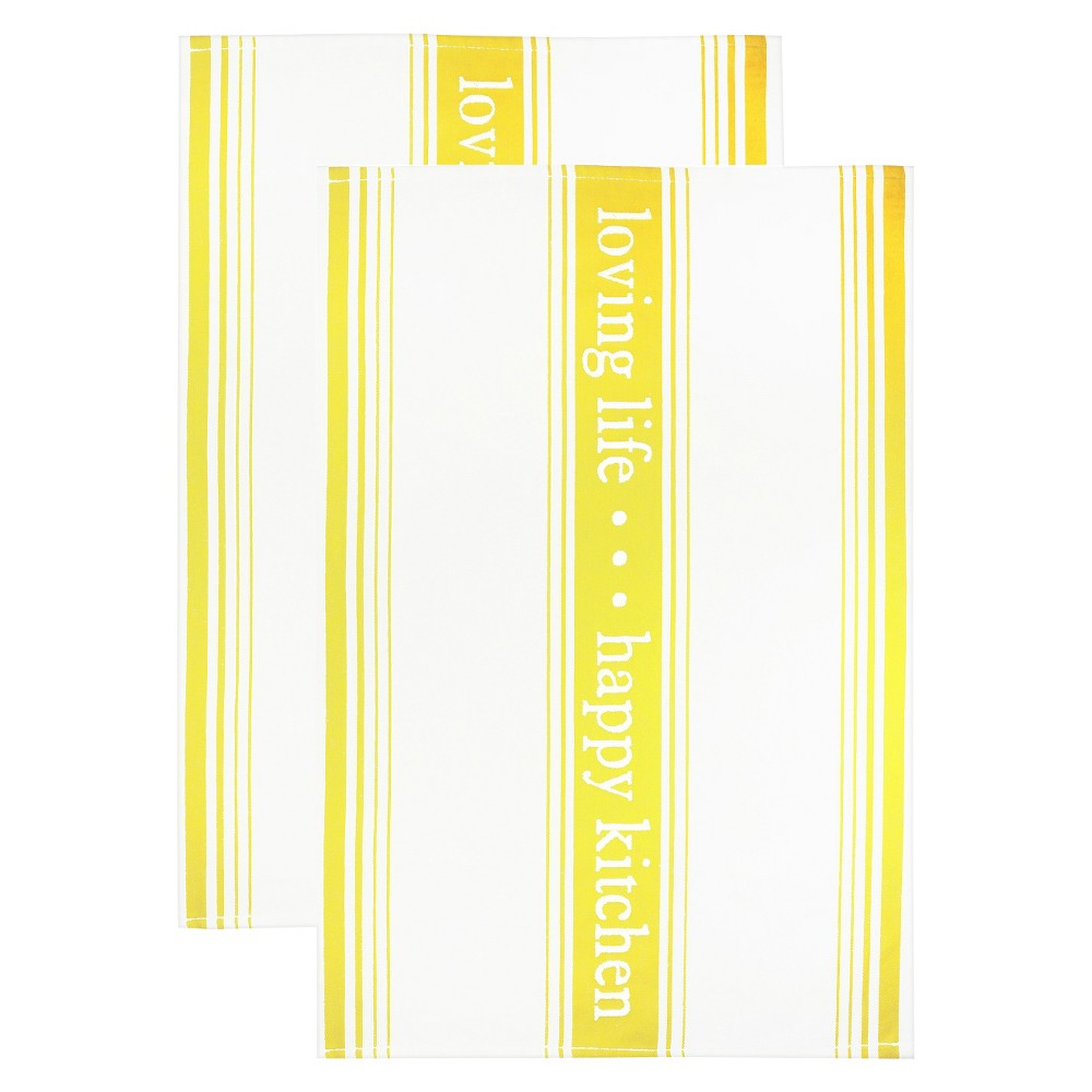 Image of Jacquard Towel 'Loving Life happy Kitchen' Yellow - Mu Kitchen
