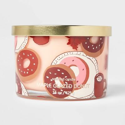 15oz Lidded Glass Jar Donut Print 3-Wick Maple Glazed Donut Candle - Opalhouse™