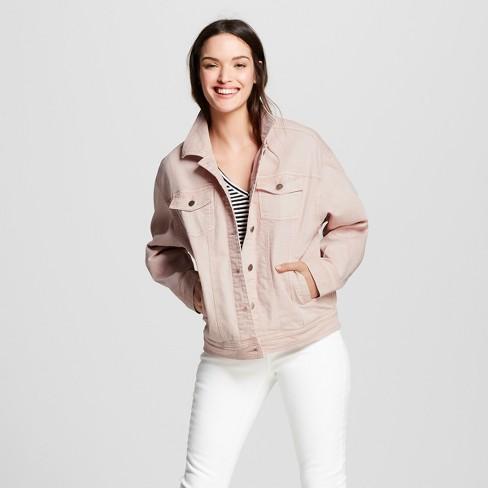 Women's Denim Trucker Jacket Light Wash - Universal Thread™ Pink - image 1 of 3