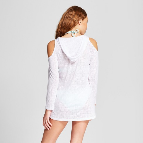 ee00c45ec6 Cover 2 Cover Women's Cold Shoulder Hooded Tunic - White M : Target