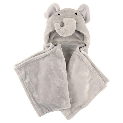 Hudson Baby Coral Fleece Hooded Blanket - Gray Elephant