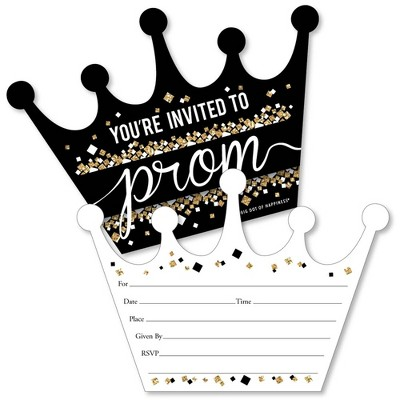 Big Dot of Happiness Prom - Shaped Fill-in Invitations - Prom Night Party Invitation Cards with Envelopes - Set of 12