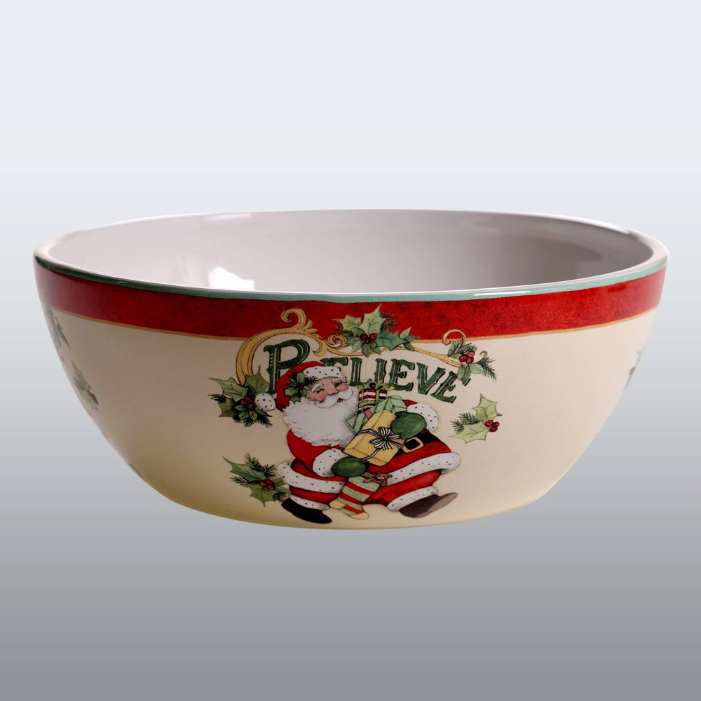 Image of 112oz Earthenware Believe Serving Bowl White/Red - Certified International, White Red