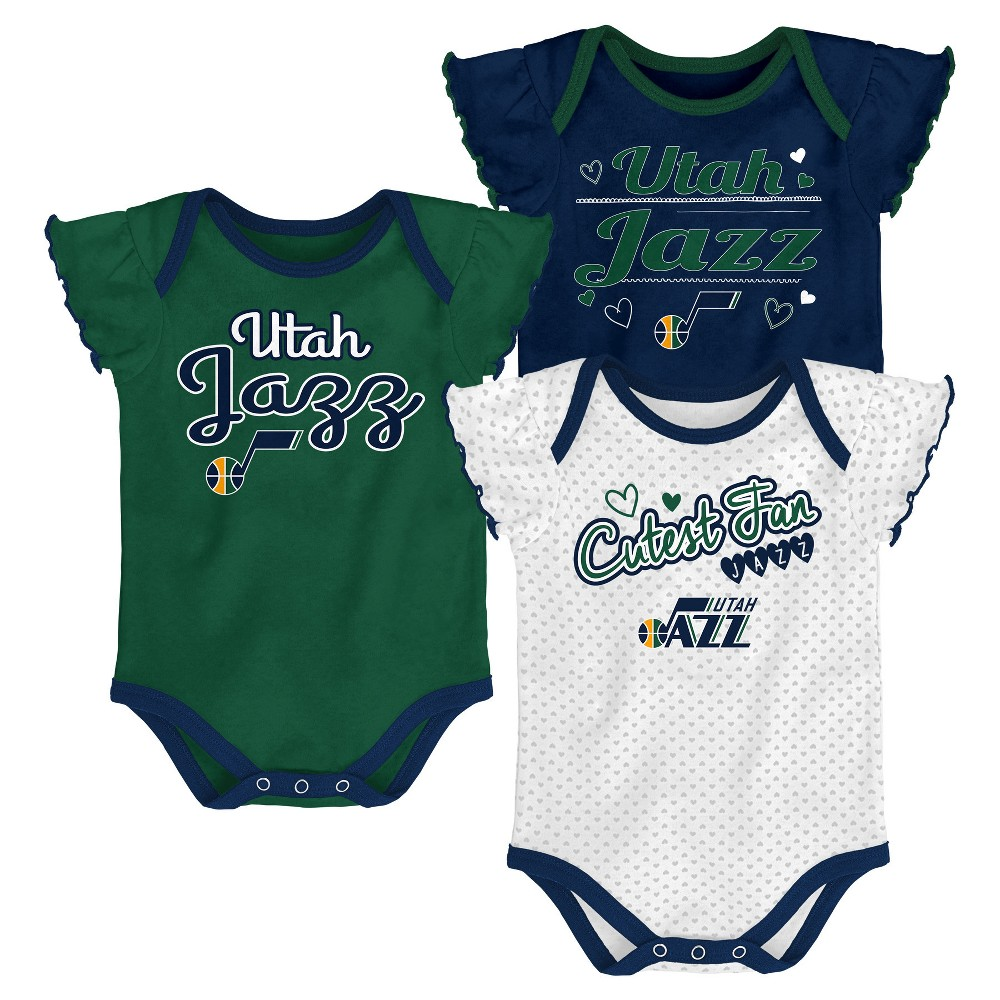 Utah Jazz Girls' Draft Pick 3pk Body Suit Set 0-3M, Multicolored
