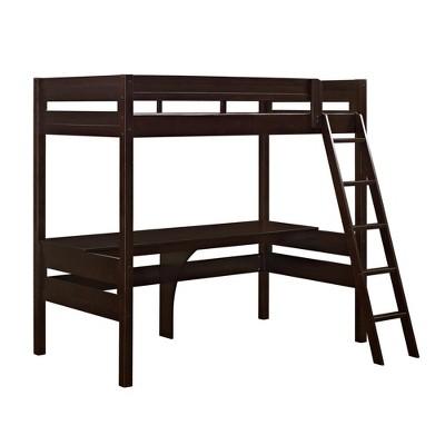 Twin Melrose Loft Bed with Desk Espresso - Dorel Living