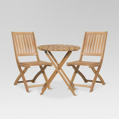 3pc Wood Patio Bistro Set - Natural - Threshold™