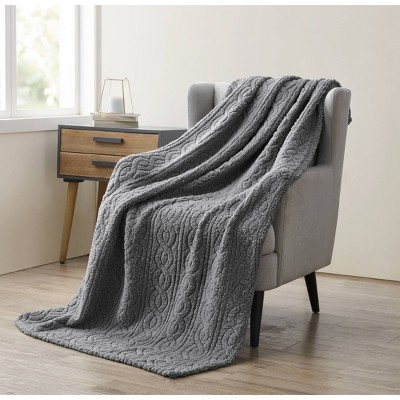 "50""x70"" Bethany Sherpa Plush Sculpted Braided Throw Blanket Gray - VCNY"