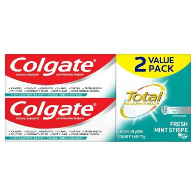 Colgate Total Fluoride Toothpaste Gel - Fresh Mint Stripe Gel - 4.8oz