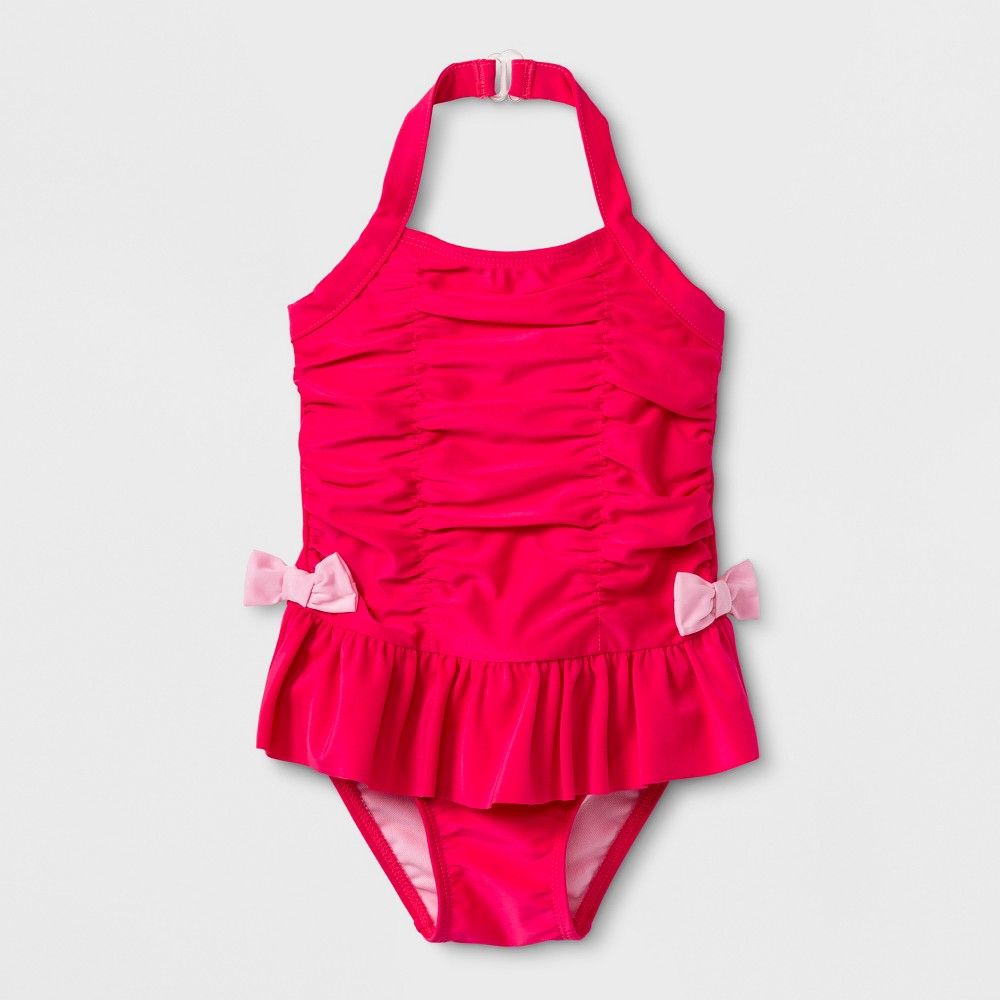 Toddler Girls' Ruffle Bow One Piece Swimsuit - Cat & Jack Pink 5T
