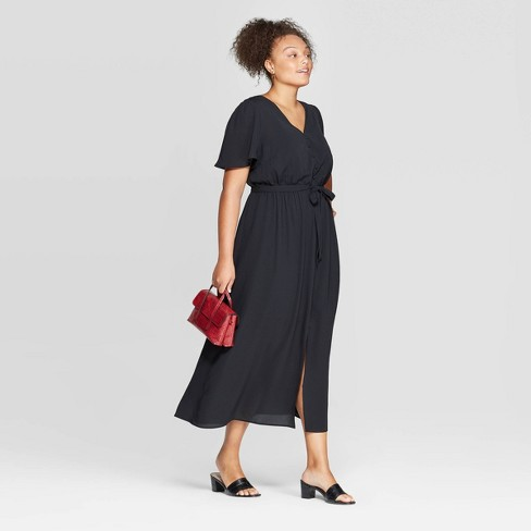 Women's Plus Size Short Sleeve V-Neck Button Front Maxi Dress - Ava & Viv™ Black - image 1 of 3