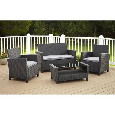 Cosco Malmo 4pc Resin Wicker Patio Deep Seating Conversation Set - Gray & Black