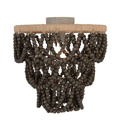 Wood Bead/Metal Semi Flush Light Brown - 3R Studios
