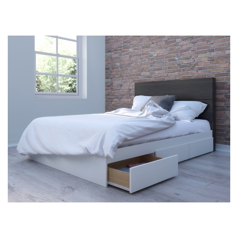 Cadence Storage Bed and Headboard Full White & Black - Nexera - image 1 of 3