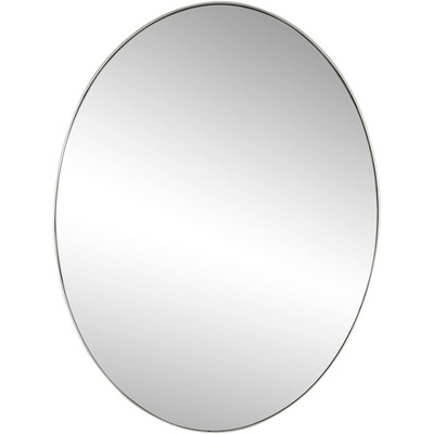 """Noble Park Clarendon Silver Metal 17 3/4"""" x 23 3/4"""" Oval Wall Mirror"""