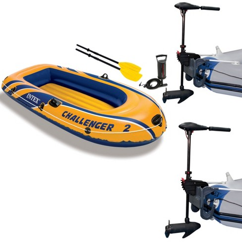 Intex Challenger 2 Inflatable Raft Set & 2 Transom Mount 8 Speed Trolling  Motors