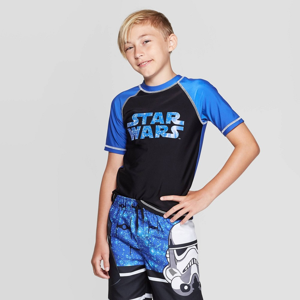Image of Boys' Star Wars: The Force Awakens Rash Guard Swim Shirt - Blue L, Boy's, Size: Large, Red